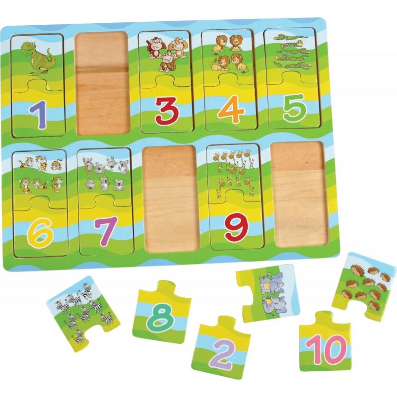 puzzle invata numerele cu ajutorul animalelor