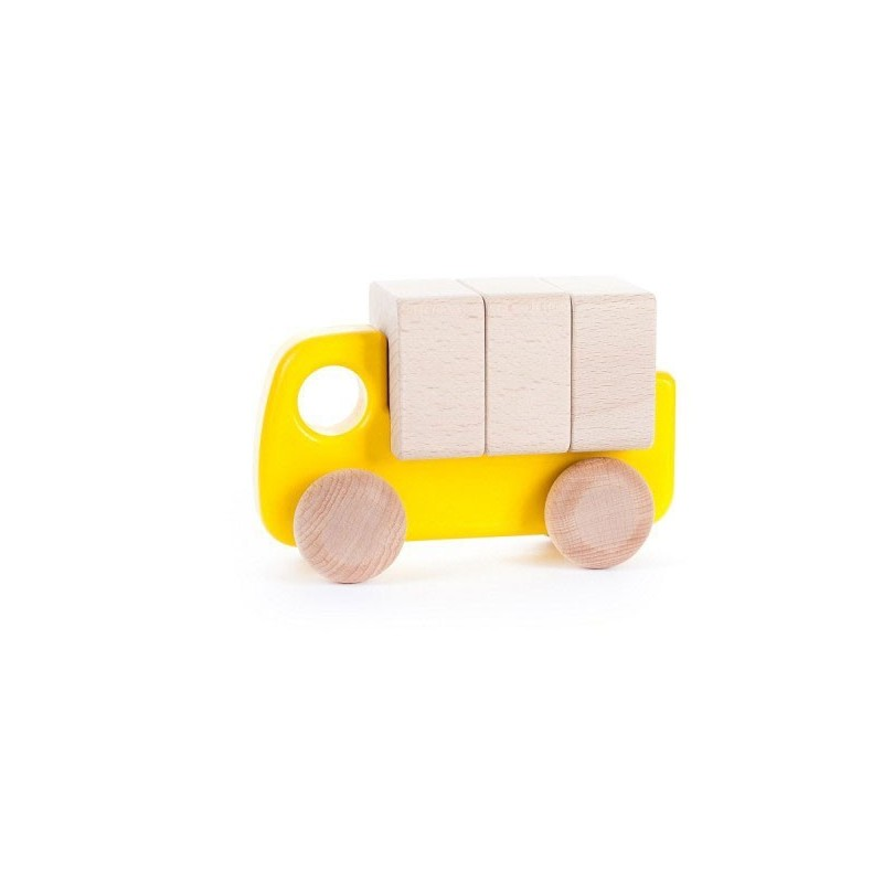 camion mic cu blocuri de lemngalben
