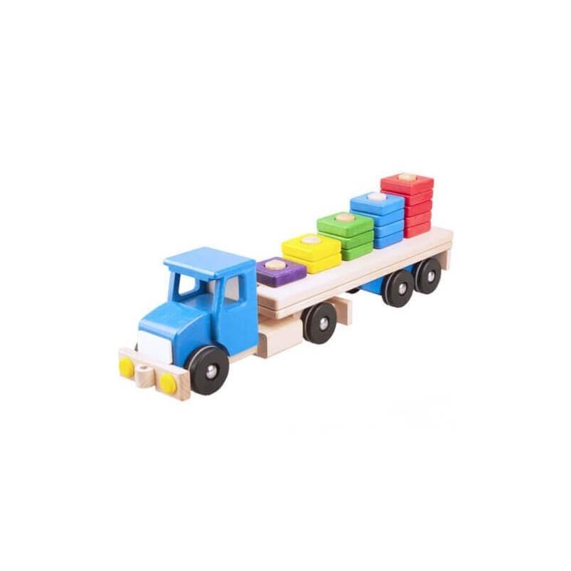 camion albastru cu semiremorca si blocuri din lemn 52 cm