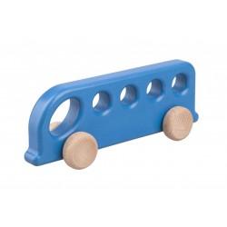 Autobuz de lemn albastru