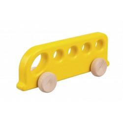 Autobuz de lemn galben