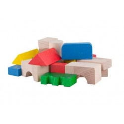 cuburi din lemn colorate 100 piese
