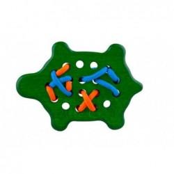 broscuta verde, jucarie din lemn cu sireturi