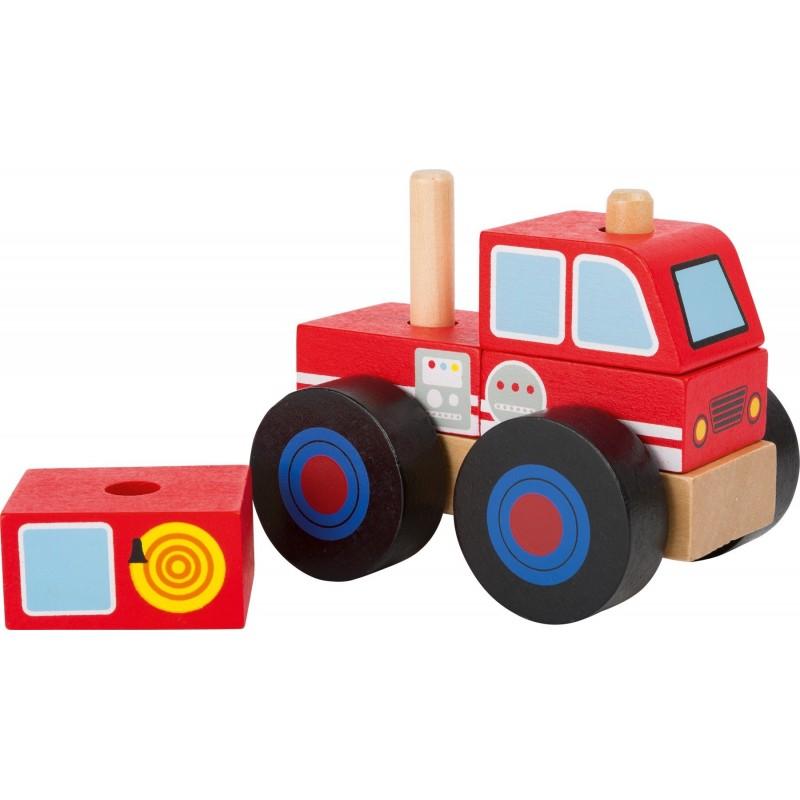 masinuta de pompieri din blocuri de lemn