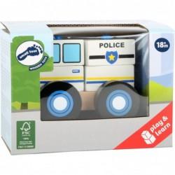 masinuta de politie din blocuri de lemn