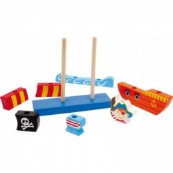 barca piratilor din blocuri de lemn