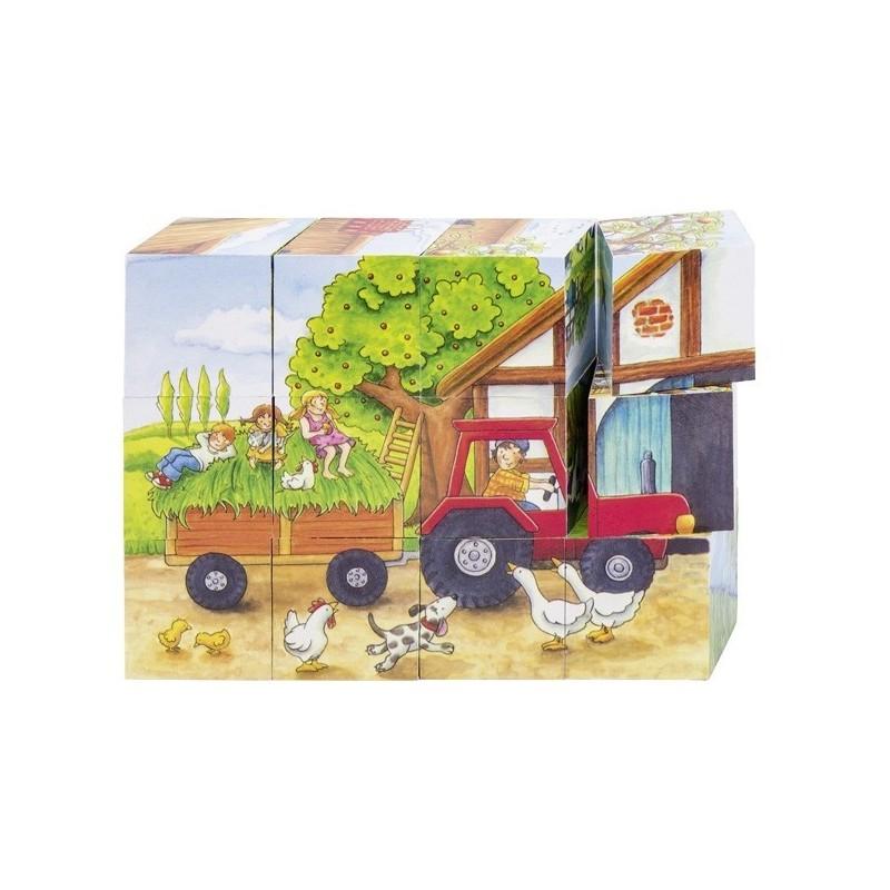 puzzle din cuburi cu anotimpuri si ferma