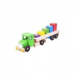 camion verde cu semiremorca si blocuri din lemn 52 cm