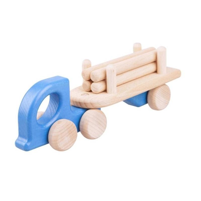 camion albastru cu busteni