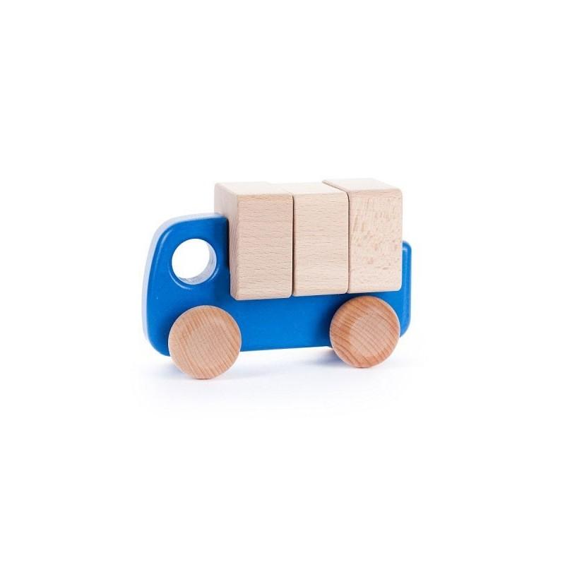 camion mic cu blocuri de lemnalbastru